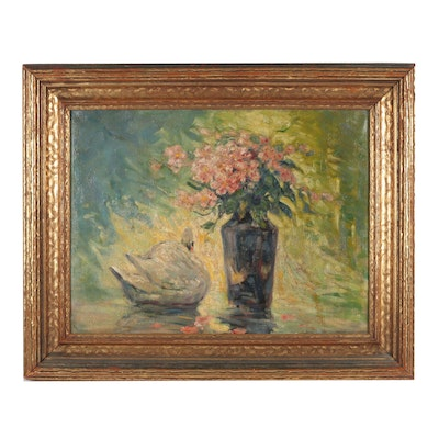 Early 20th Century Swan & Floral Still Life Oil Painting