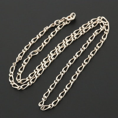 Sterling Silver Fancy Link Curb Chain Necklace