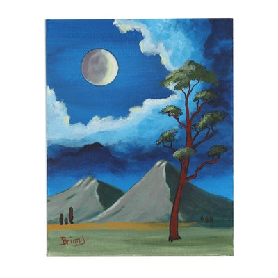 "Brian Johnpeer 2019 Acrylic Painting ""Full Moon"""