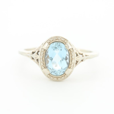 Edwardian 18K White Gold Aquamarine Solitaire Filigree Ring