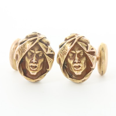 Vintage 14K and 10K Yellow Gold Figural Cufflinks