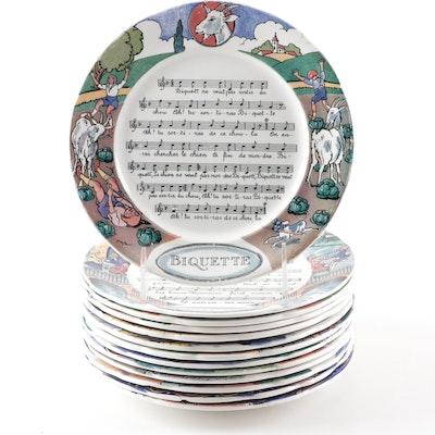"""Sarreguemines """"Chansons et Rondes de France"""" Dessert Plates"""