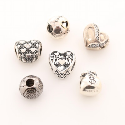 Six Pandora Sterling Silver Diamond and Cubic Zirconia Charm Beads