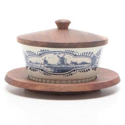 Delfts Hand Painted Condiment Bowl with Wood Lid and Underplate