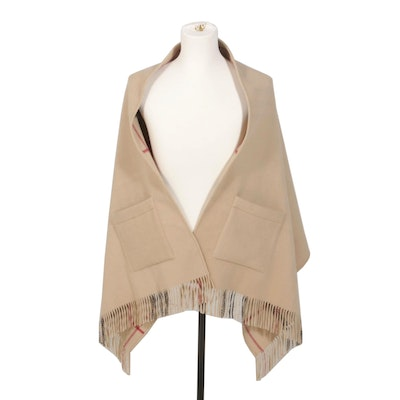 Burberry London Wool Wrap with Fringe and Pockets