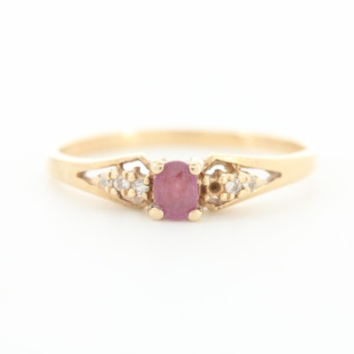 Vintage 14K Yellow Gold Ruby and Diamond Ring
