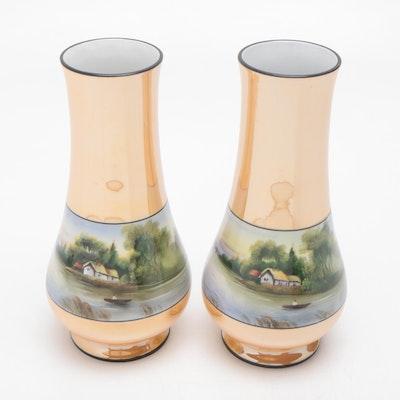 Morimura Noritake Lustreware Vases with Hand-Painted Scene, Pair