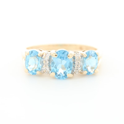 14K Yellow Gold Blue Topaz Three Stone Ring with Diamond Accents