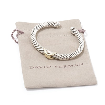 David Yurman Sterling Silver and 14K Gold Twisted Cable Cuff Bracelet