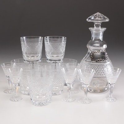 "Waterford Crystal ""Rossmore"" Decanter and Glasses, Mid to Late 20th Century"