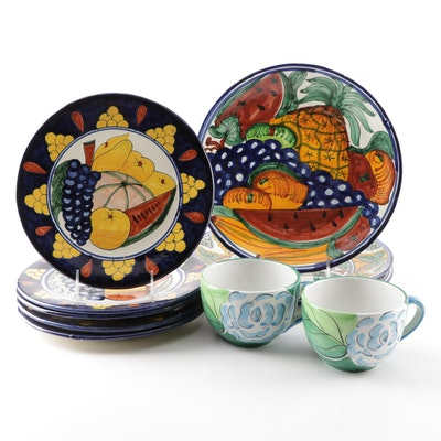 Hand-Painted Mexican Talavera and Portuguese Alcobaca Tableware