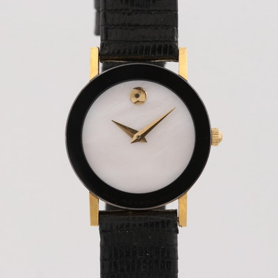 """Movado """"Museum Piece"""" Gold Tone Quartz Wristwatch With Mother of Pearl Dial"""