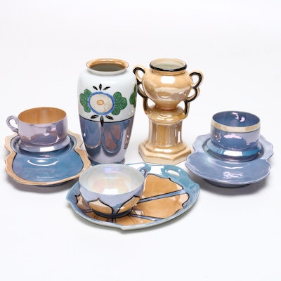 Japanese Takito, Shofu, and Other Porcelain Lustreware Snack Sets
