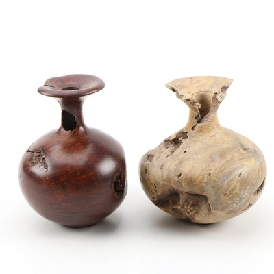 Bruce Bernson Turned Buckeye and Burl Wood Bud Vases, 1989