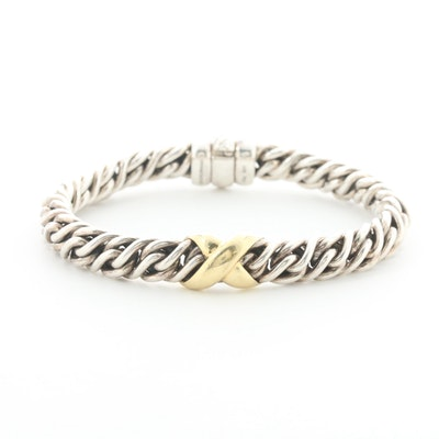 David Yurman Sterling Silver Crossover Bracelet with 18K Yellow Gold Accents