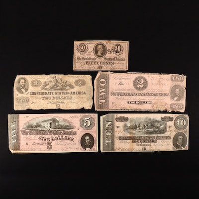 Five Different Confederate States of America Obsolete Currency Notes