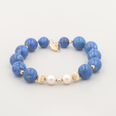 14K Yellow Gold Cultured Pearl and Lapis Lazuli Beaded Bracelet