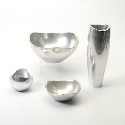 Nambé Santa Fe Metal Alloy Vase and Bowls, 1990s