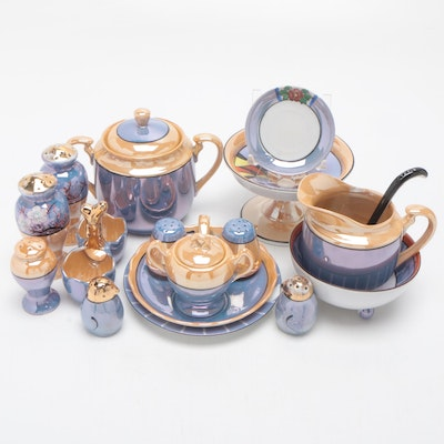 Japanese Hand Painted Porcelain Lustreware Collection Including Morimura