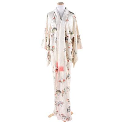 Japanese Ivory Silk Jacquard Floral Fan Print Kimono