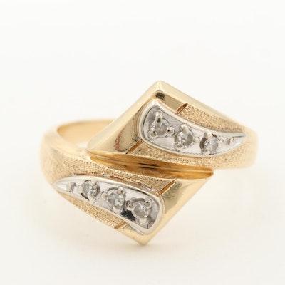 Vintage 14K Yellow Gold Diamond Bypass Ring