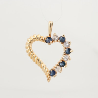 10K Yellow Gold Blue Sapphire and White Sapphire Heart Pendant