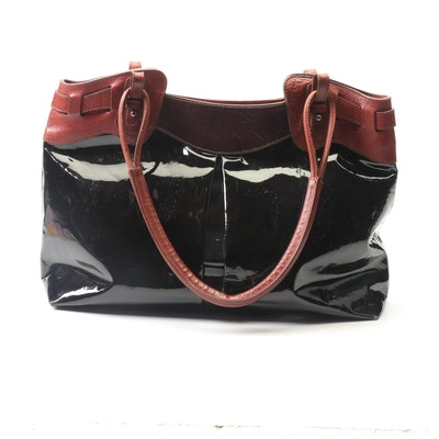 Pauric Sweeney Black Patent Leather Tote with Chestnut Leather Trim