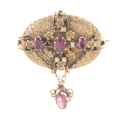 Victorian 14K Yellow Gold Garnet and Cultured Pearl Brooch