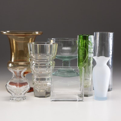Gorham Crystal Vase and Other Crystal and Etched Glass Vases
