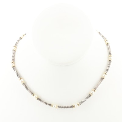 "David Yurman ""Hampton"" Sterling Cultured Pearl Necklace with 14K Gold Accents"