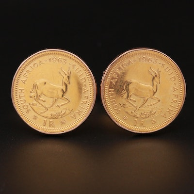 14K and 9K Yellow Gold South African Coin Cufflinks
