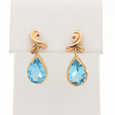 14K Yellow Gold Topaz Earrings