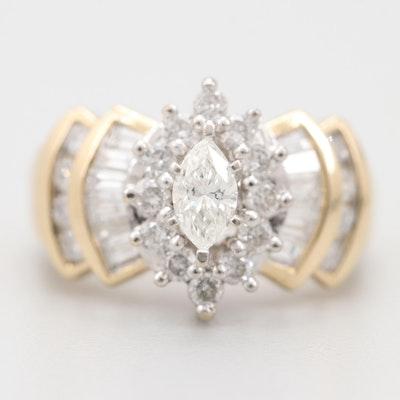 14K Yellow and White Gold 1.56 CTW Diamond Ring