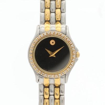 Movado Two Tone Diamond Bezel Wristwatch