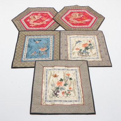 Chinese Hand-Embroidered Silk Panels Featuring Dragon and Floral Motifs