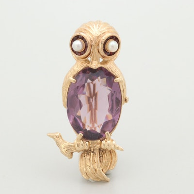 14K Yellow Gold Amethyst, Cultured Pearl, and Garnet Bird Brooch