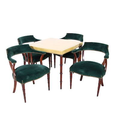 Regency Style Game Table and Four Mahogany Chairs, Circa 1950s