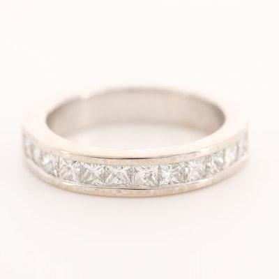 14K White Gold 1.20 CTW Diamond Princess Channel Band