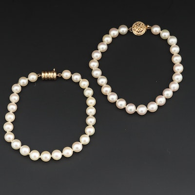 14K Yellow Gold Cultured Pearl Bracelets