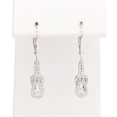 10K White Gold Diamond Knot Earrings