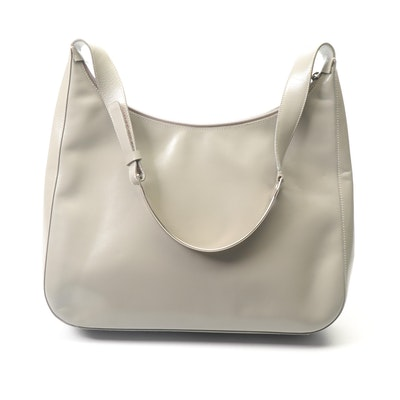 Prada Light Grey Leather Handbag with Leather and Metal Shoulder Strap
