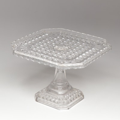 "Campbell, Jones & Co. ""Diamond"" Patterned Glass Cake Stand, circa 1880"