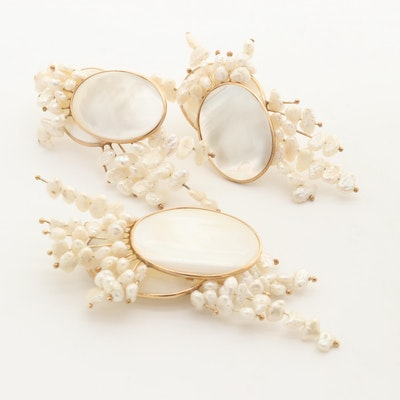 14K Yellow Gold Earrings and Brooch with Mother of Pearl and Cultured Pearl