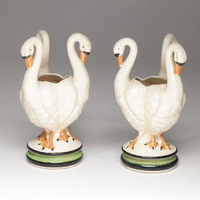 Moriyama Japanese Porcelain Swan Vases