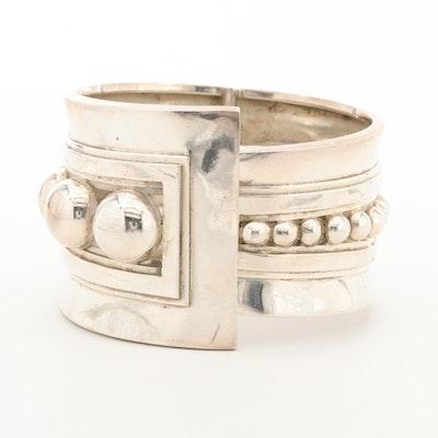 Vintage Mexican Taxco Sterling Asymmetrical Clamper Bracelet
