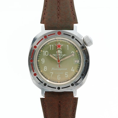 Vostok Amphibia Komandirskie Soviet Military Stainless Steel Wristwatch