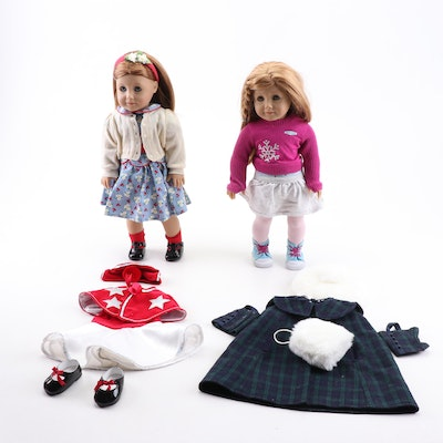"""American Girl """"Emily"""" and """"Mia"""" Dolls with Clothing, Accessories, and Boxes"""