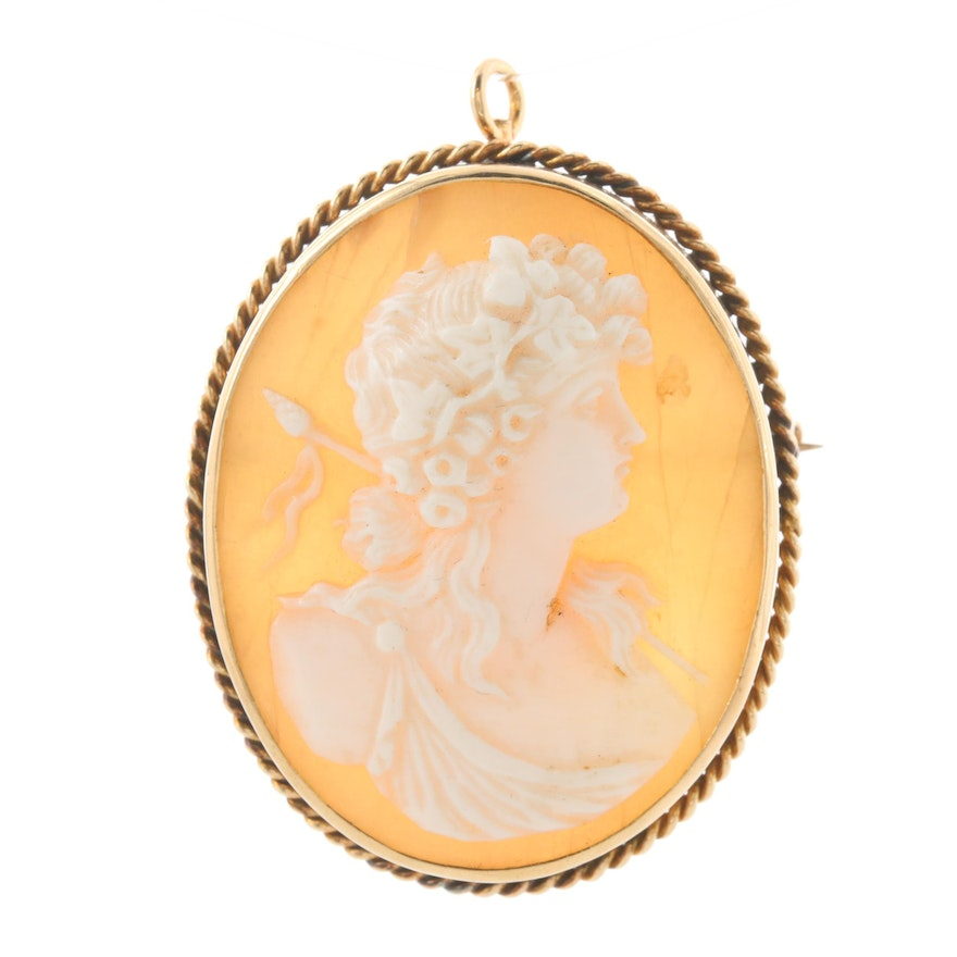 Vintage 14K Yellow Gold Cameo Converter Brooch