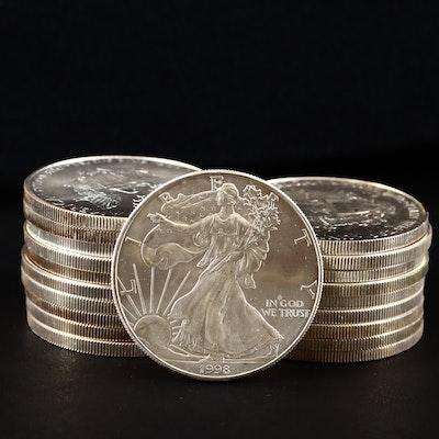 Roll of Twenty U.S.Silver Eagles Including 1998 and 2009