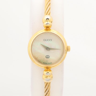 Vintage Gucci Gold Tone Cable Quartz Wristwatch With Mother of Pearl Dial